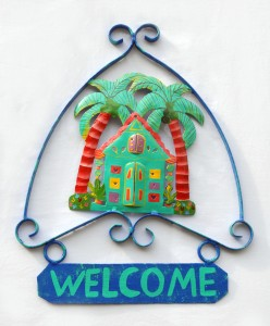 Recycled painted metal welcome sign