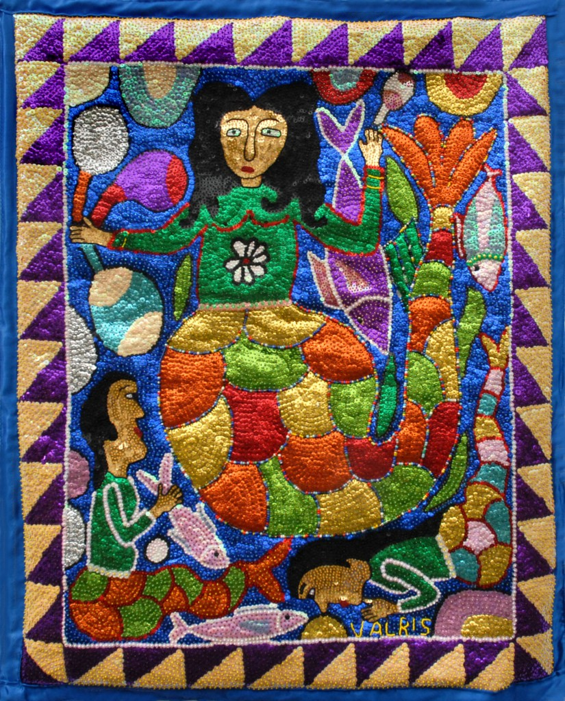 "Sequin and beaded Lasirene by Georges Valris - 34"" x 42"" - $400.00"